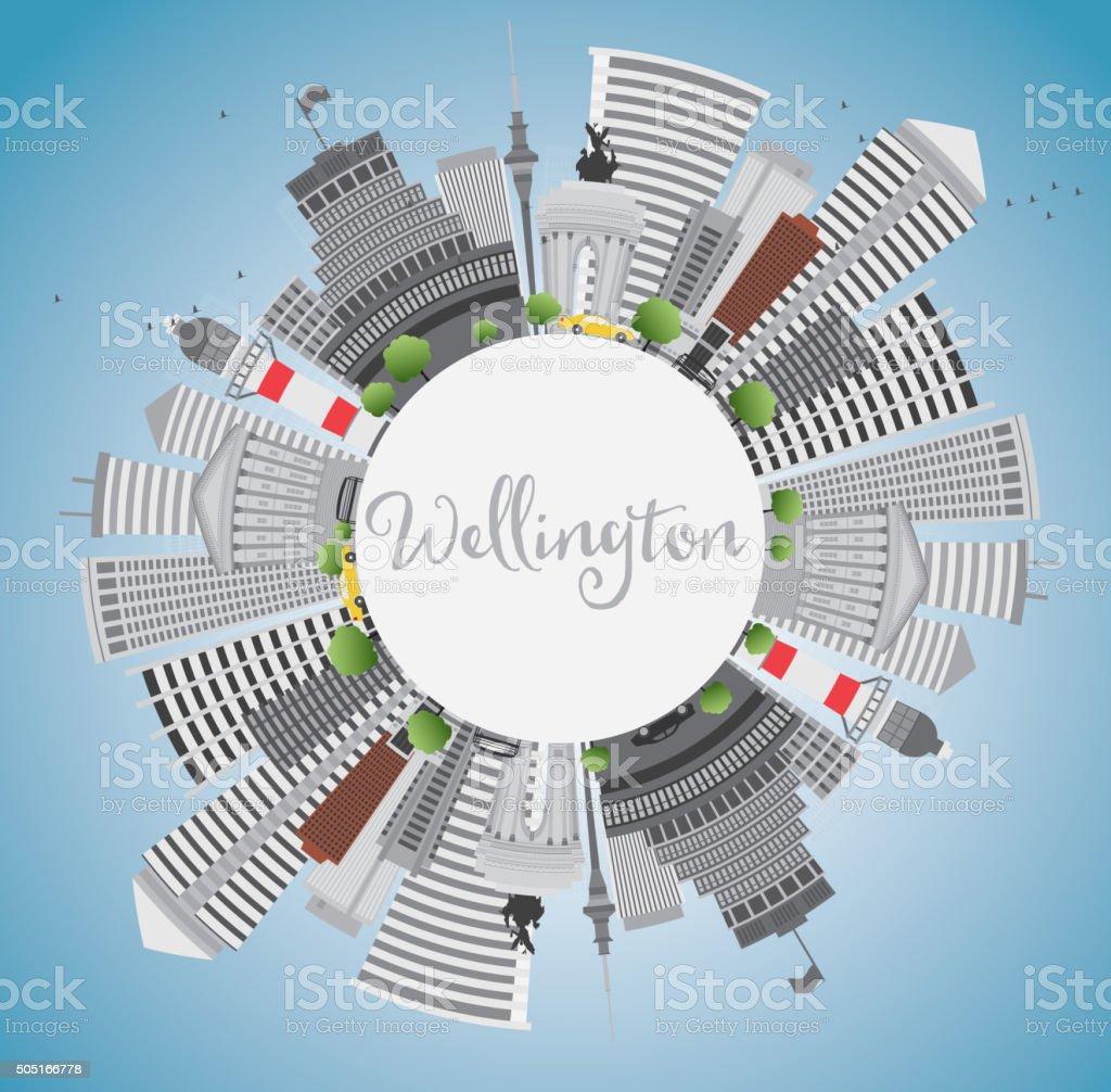 Wellington skyline with grey buildings, blue sky and copy space. vector art illustration