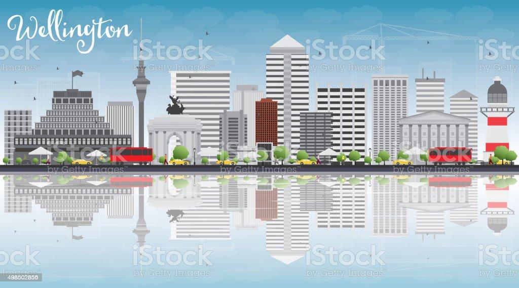 Wellington skyline with grey buildings, blue sky and reflections vector art illustration