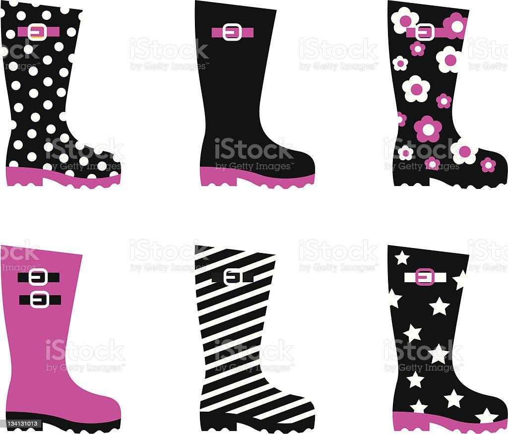 Wellington vector rain boots isolated on white ( pink & black ) vector art illustration