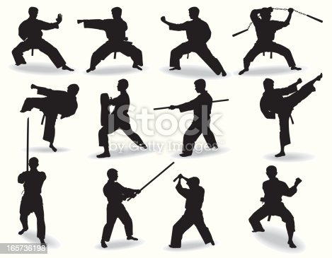 Several well-known martial arts, and their traditional weapons.