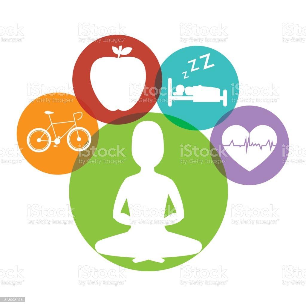 Wellnees healthcare lifestyle vector art illustration