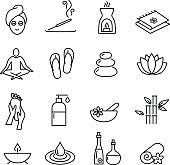 Collcetion of icons representing wellness, relaxation, cosmetics and healthy lifestyle