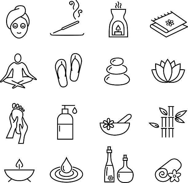 ウェルネスと化粧品のアイコン、健康的なライフスタイル - エステ点のイラスト素材/クリップアート素材/マンガ素材/アイコン素材