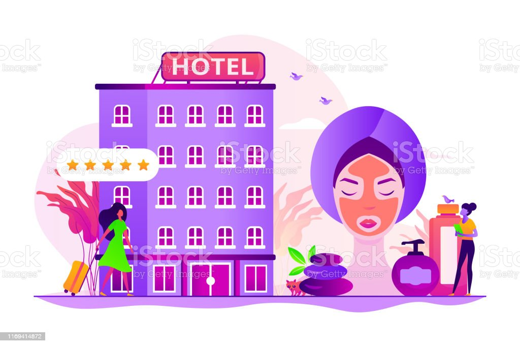 Hotel facilities and services. Businesswoman with suitcase. Wellness...