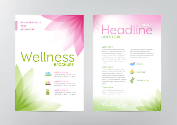 wellness brochure - layout template - massage stock illustrations