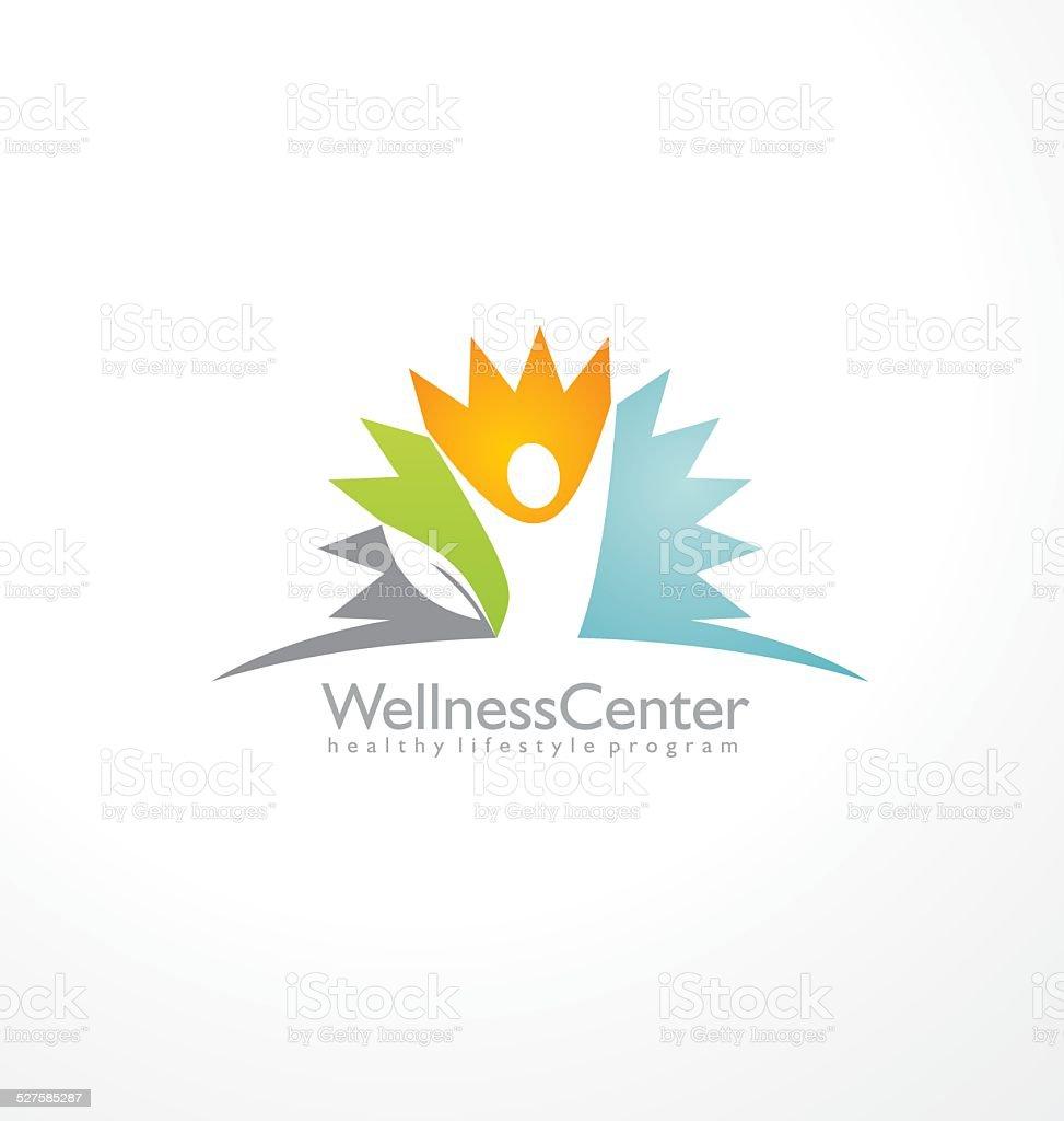 Concepto de diseño de logotipo centro de bienestar físico - ilustración de arte vectorial