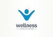 Wellness creative symbol lifestyle concept. Happy energy person abstract business fitness pictogram. Sport people, freedom health, physiotherapy icon. Corporate identity sign, company graphic design