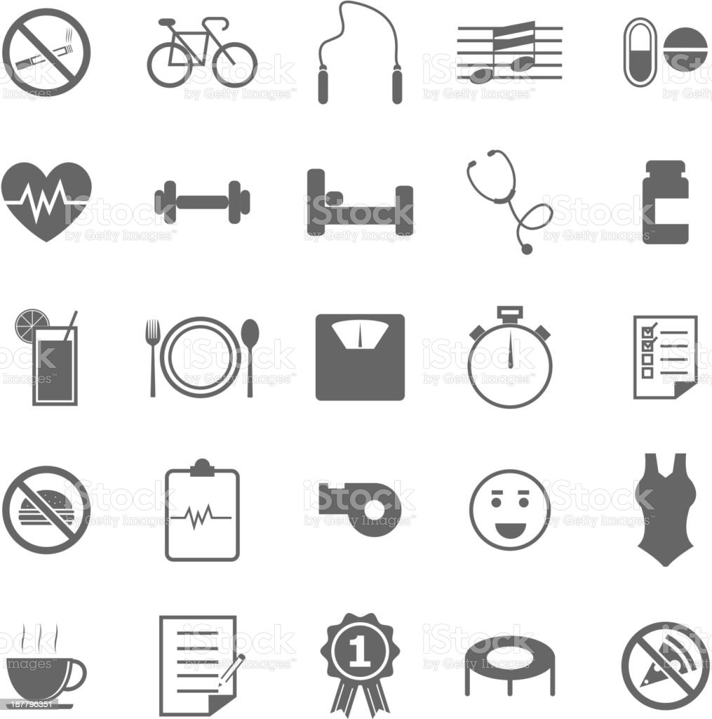 Wellness icons on white background royalty-free stock vector art