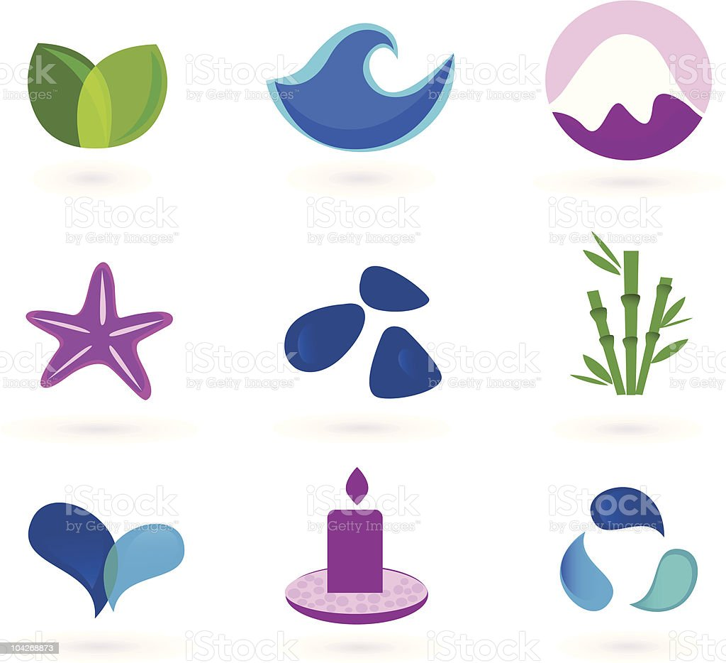 Wellness, relaxation and medical icons royalty-free stock vector art