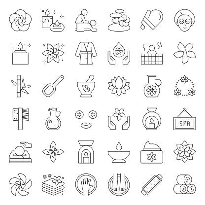 Wellness Spa and sauna elements, thin line design icon