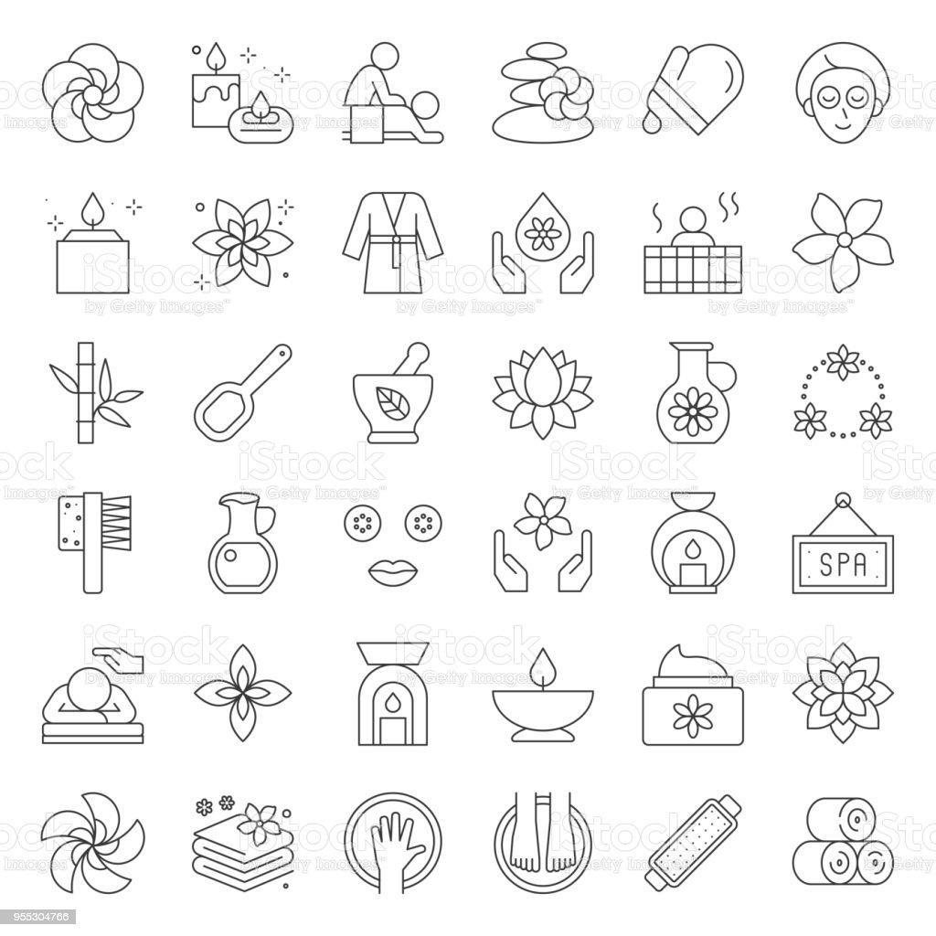 Wellness Spa y sauna elementos, icono del diseño de línea delgada - ilustración de arte vectorial