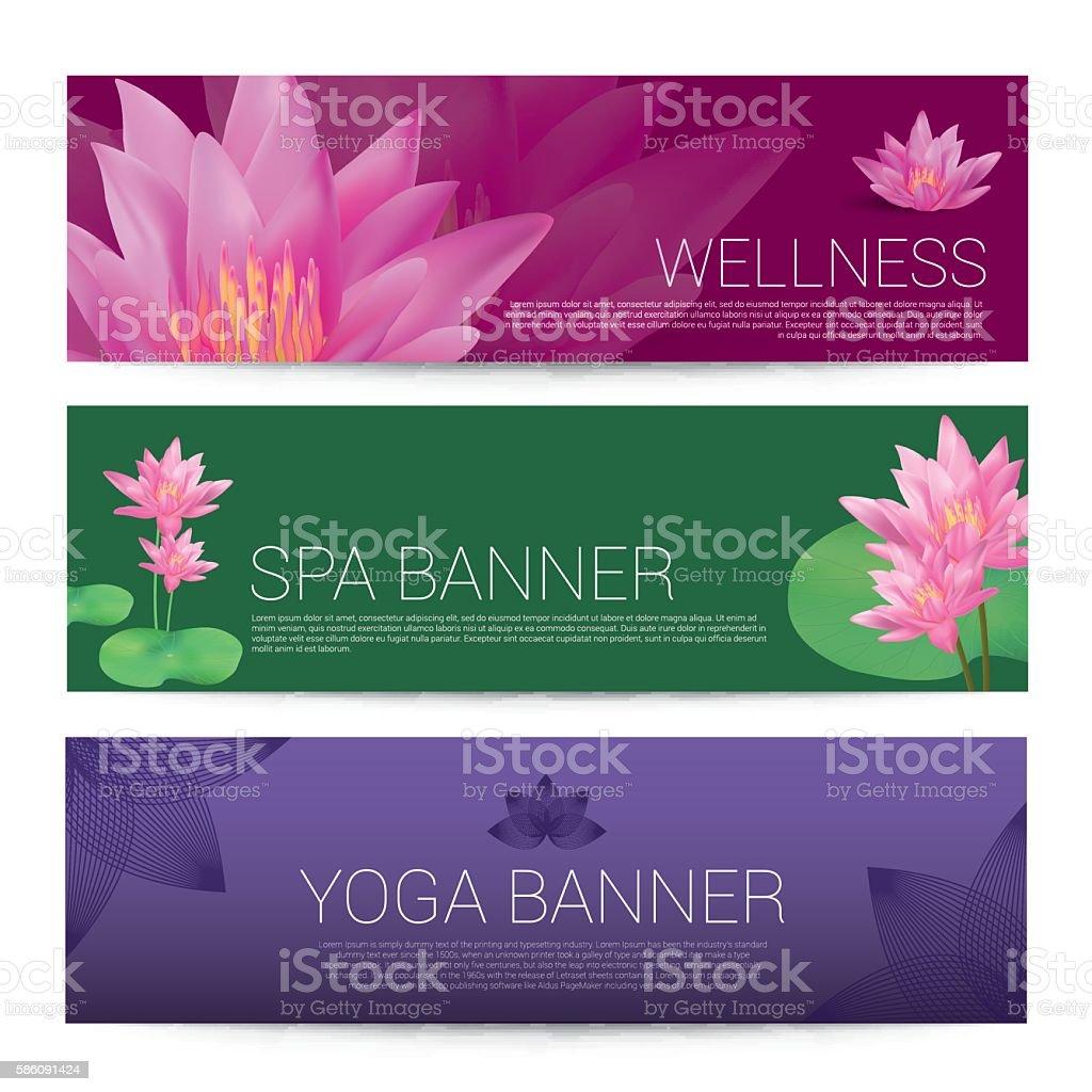Wellness Spa Yoga Banner Template Flyer Menu Cover Vector Illus