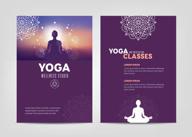 Wellness Studio Brochure Template Wellness and Yoga Studio Brochure Template meditation stock illustrations