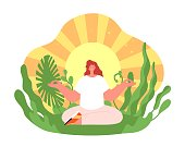 istock Wellness therapy. Harmonious yoga girl, health balance or meditation on sun background. Treatment on nature, soul mind relax utter vector concept 1339080697