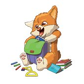 Welsh corgi dog puppy going to school