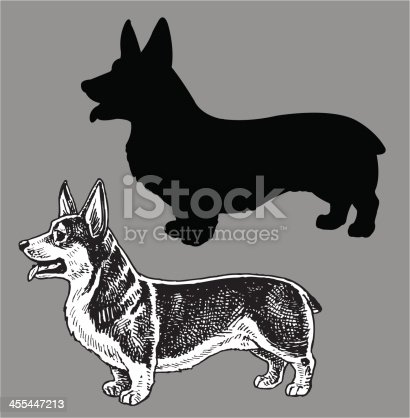Welsh Corgi Dog. Pen and Ink style illustration of mans best friend, a Welsh Corgi dog. Check out my