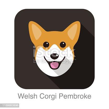 Welsh Corgi Pembroke dog face flat icon design, vector illustration