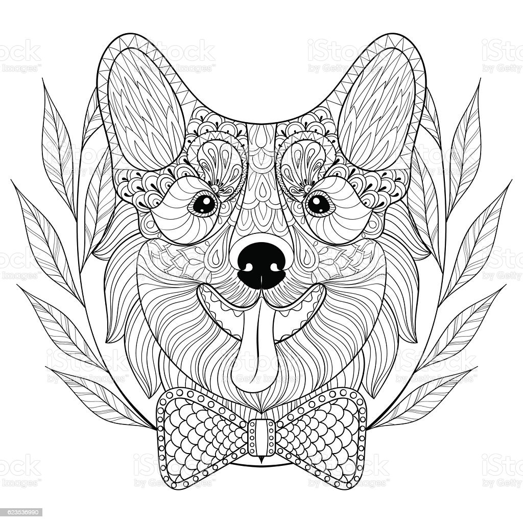 Welsh Corgi with bow tie in wreath frame, doodle style vector art illustration