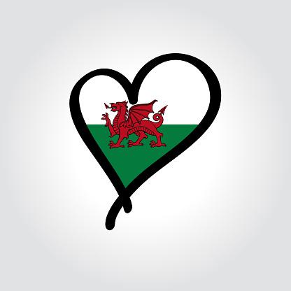 Welsh flag heart-shaped hand drawn logo. Vector illustration.