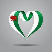 Welsh flag heart-shaped ribbon. Vector illustration.