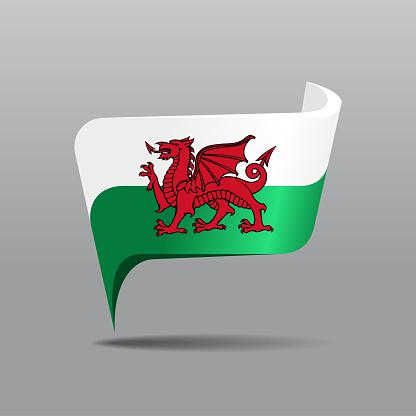 Welsh flag map pointer layout. Vector illustration.