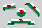 Welsh flag stickers and labels. Vector illustration.