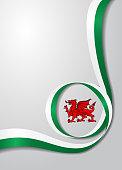 Welsh flag wavy background. Vector illustration.