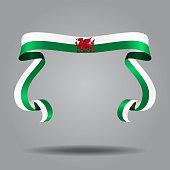 Welsh flag wavy ribbon background. Vector illustration.
