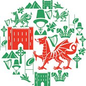 A set of Welsh themed icons. Click below for more travel images.