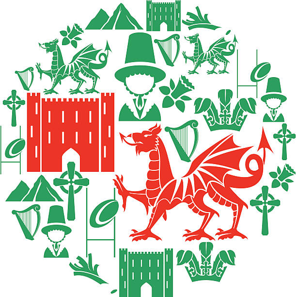welsh icon set - wales stock illustrations, clip art, cartoons, & icons