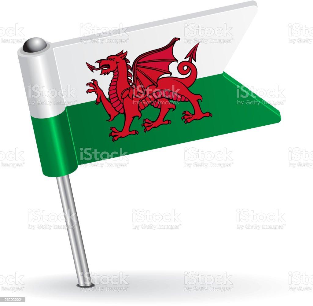 Welsh pin icon flag. Vector illustration vector art illustration