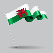 Welsh pin wavy flag. Vector illustration.