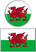 Welsh round and square icon flag. Vector illustration