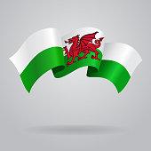 Welsh waving Flag. Vector illustration