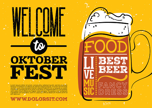 WelWelcome to Oktoberfest Poster. Vector Hand Drawn Beer Mug with Lettering on Yellow Old Grunge Vintage Texture.