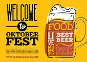 Welcome to Oktoberfest Poster. Vector Hand Drawn Beer Mug with Lettering on Yellow Old Grunge Vintage Texture. Banner for Bavarian Holiday, Fest, Flyer. Octoberfest Celebration Design.