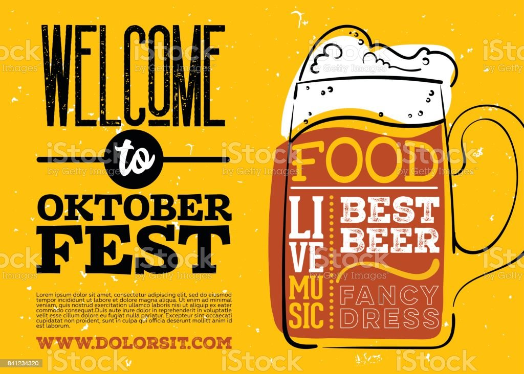 WelWelcome to Oktoberfest Poster. Vector Hand Drawn Beer Mug with Lettering on Yellow Old Grunge Vintage Texture. vector art illustration