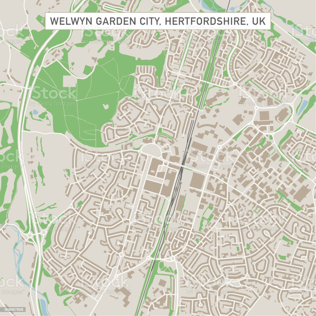 Welwyn Garden City Hertfordshire Uk City Street Map Stock Vector Art