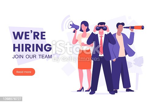 We're hiring banner design. Office workers looking for a new employee. Job offer. Join our team poster. Vacancy banner template. Recruitment process. HR team vector illustration.