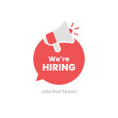 istock We're Hiring. Join Our Team and Megaphone on Speech Bubble Flat Design. 1249214572