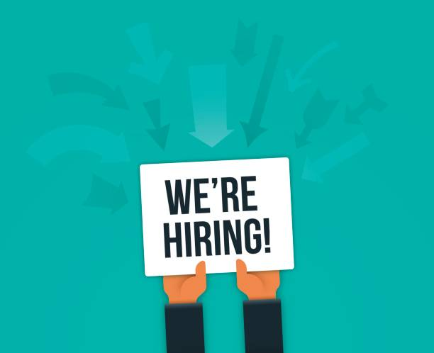 We're Hiring Sign We are hiring hands holding sign concept. help wanted sign stock illustrations