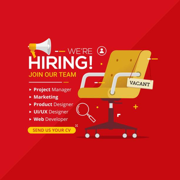 We're hiring with office chair and a sign vacant We're hiring with office chair and a sign vacant. Business recruiting design concept. Vector illustration vacancy stock illustrations