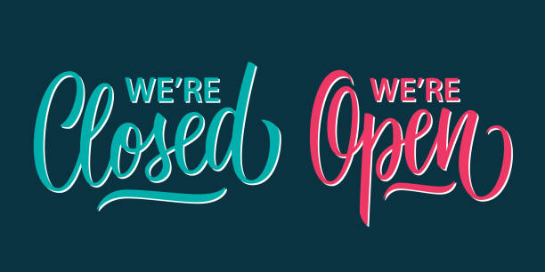 We're Open and We're Closed handwritten inscriptions. Creative typography for business, information retail store. We're Open and We're Closed handwritten inscriptions. Creative typography for business, information retail store. Vector illustration. opening stock illustrations