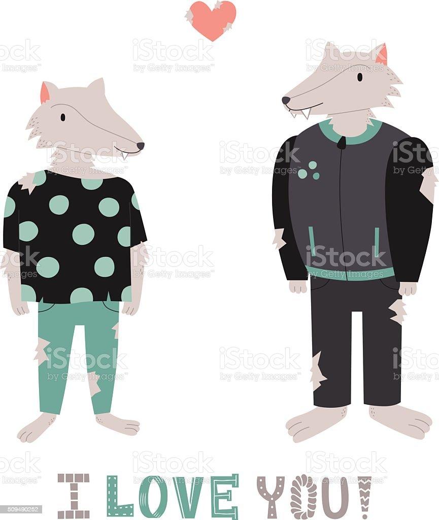 オオカミ人間かわいいカップルの愛にハートのベクトルイラスト の