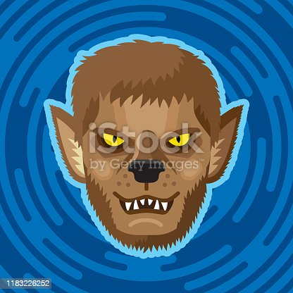 Vector illustration of a werewolf face against a blue background in flat style.