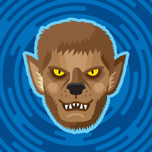 Werewolf Face Flat Vector illustration of a werewolf face against a blue background in flat style. werewolf stock illustrations