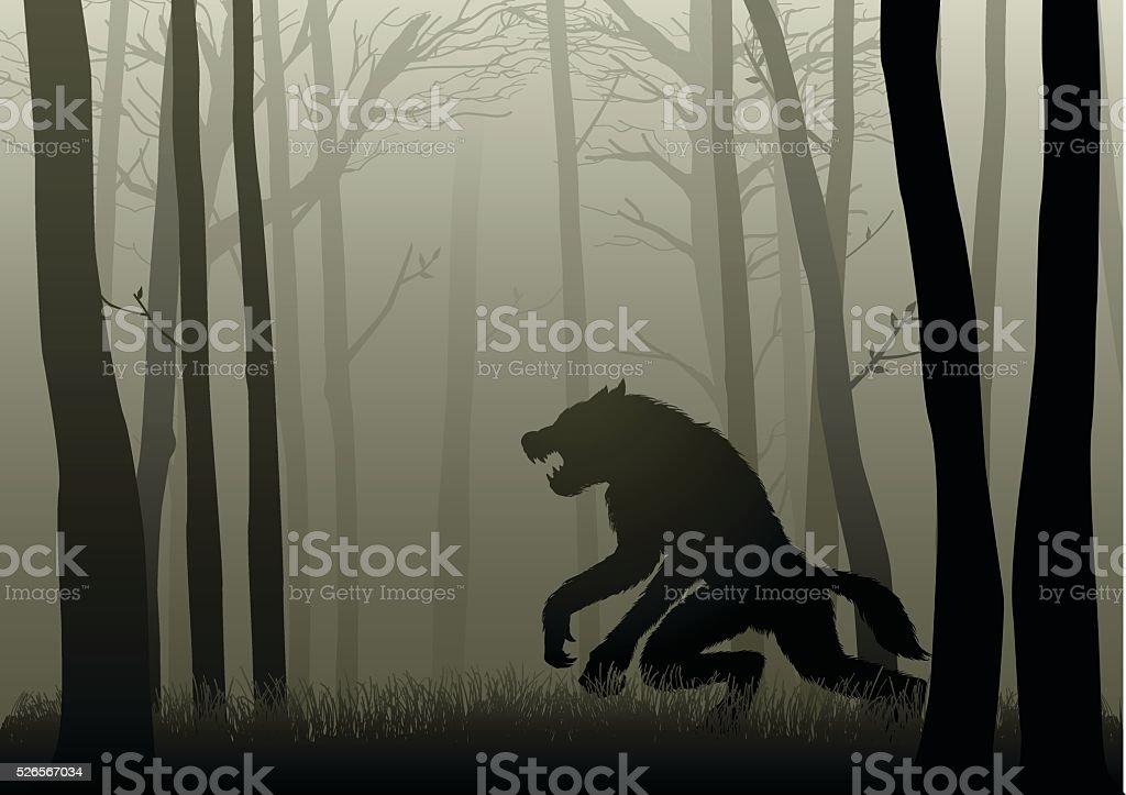 Werewolf In The Dark Woods vector art illustration