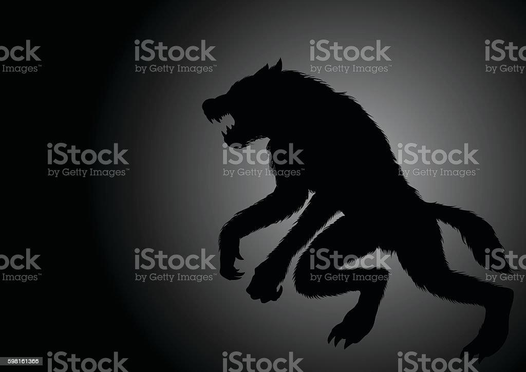 Werewolf lurking in the dark vector art illustration