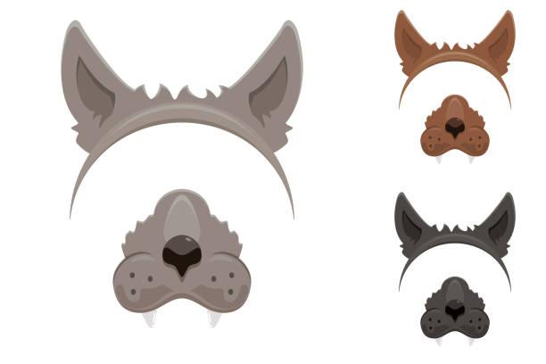 Werewolf mask for Halloween Set of werewolf masks for Halloween isolated on white background, illustration. werewolf stock illustrations