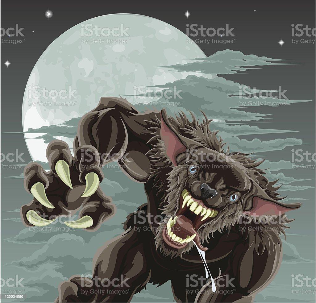 Werewolf moon illustration vector art illustration